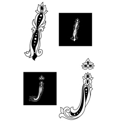Decorative capital letters I and J vector image vector image