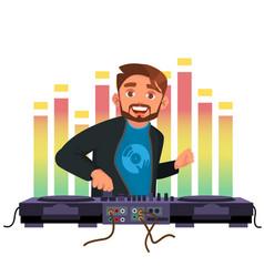 Dj playing disco house music stylish man vector