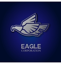 Graphic silver eagle symbol with text vector