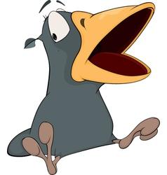 Grey raven with an open beak cartoon vector
