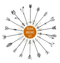 Hand drawn tribal arrows set vector image vector image