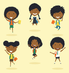 happy african american school girls jumping vector image