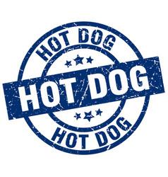 hot dog blue round grunge stamp vector image vector image
