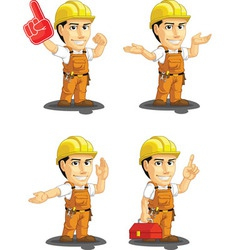 Industrial Construction Worker Mascot 14 vector image vector image