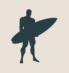 Man posing with surfboard vector