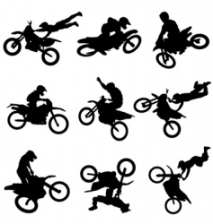 motocross silhouettes vector image vector image