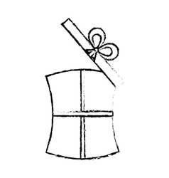 Open gift box ribbon wedding present sketch vector