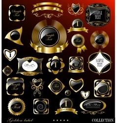 Retro black gold label vector image