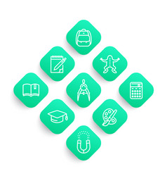 School line icons set college graduation vector