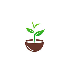 Seed plant green ecology logo vector