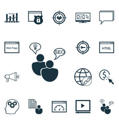 Set of 16 advertising icons includes intellectual vector