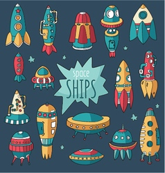 Set of spaceshipsshuttles space plates vector