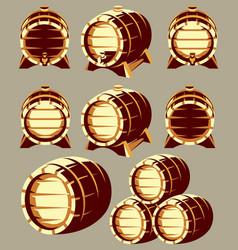 Set of vintage wooden barrels in different vector