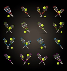 tennis symbols as design elements tennis balls vector image