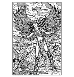 Valkyrie north mythology maiden engraved vector