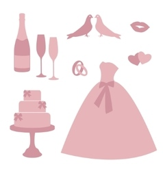 Vintage wedding invitations icons vector image vector image