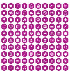 100 apple icons hexagon violet vector