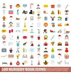 100 nursery book icons set flat style vector