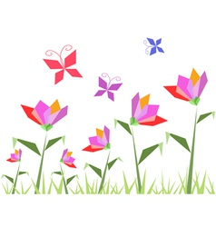paper flowers and butterfly vector image