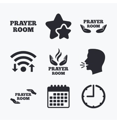 Prayer room icons religion priest symbols vector
