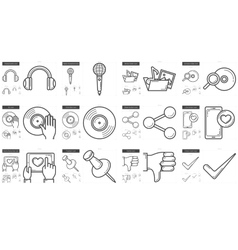 Media line icon set vector
