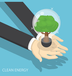 Isometric businessman hands holding eco friendly vector