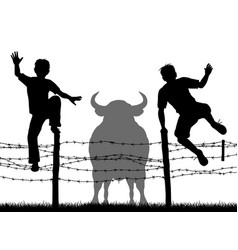 escaping the bull vector image