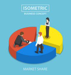 Businessman cut chart pie with saw and sharing to vector