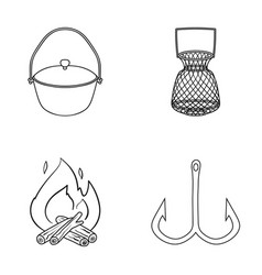 Catch hook mesh caster fishing set collection vector
