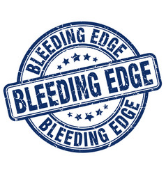 Bleeding edge blue grunge stamp vector