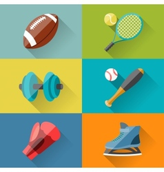 Sport icons in flat design style vector image