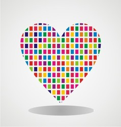 Heart with colorfull brick texture vector