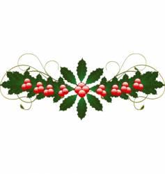 Christmas holly flourish vector