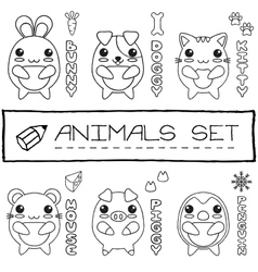Hand drawn set of japanese style baby animals vector