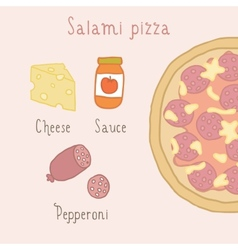Salami pizza ingredients vector