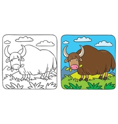 Funny wild yak coloring book vector
