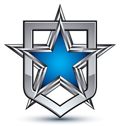 Renown silver emblem with pentagonal star 3d vector