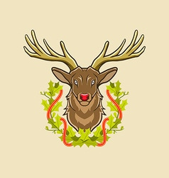 Deer and christmas wreath vector