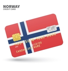 Credit card with norway flag background for bank vector