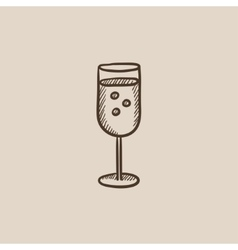 Glass of champagne sketch icon vector