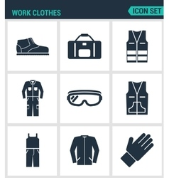 Set of modern icons work clothes shoes vector