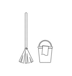 Broom and bucket sign black dotted icon vector