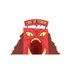 Cave of terror in form of red monster s face with vector