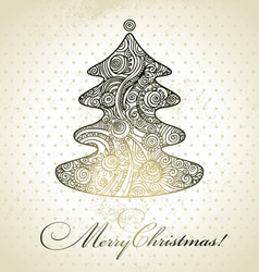 Christmas tree hand drawn design vector image