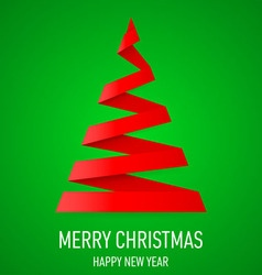 Christmas tree made of folded paper origami 07 vector image vector image