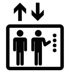 Elevator sign black icon vector
