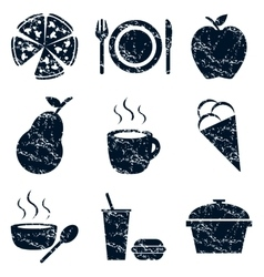 Food icons set grunge vector