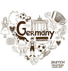 German symbols in heart shape concept vector image vector image
