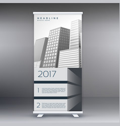 gray standee roll up banner template design vector image vector image