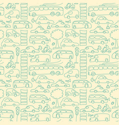 Hand drawn transport seamless pattern vector